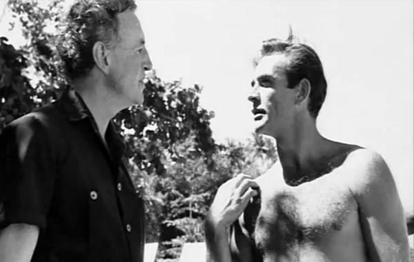"O Ian Fleming με τον Sean Connery στα γυρίσματα του ""Τζέιμς Μποντ εναντίον Δρ. Νο""."